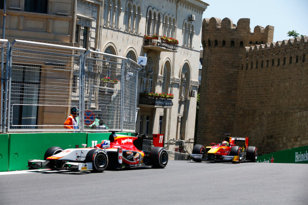 Baku City Circuit, Baku, Azerbaijan. Saturday 24 June 2017. Ralph Boschung (SUI, Campos Racing) anmd Louis Deletraz (SUI, Racing Engineering)  World Copyright: Hone/LAT Images ref: Digital Image _ONY9635