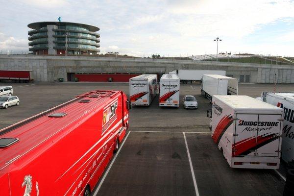 Ferrari and Bridgestone trucks in the paddock. Formula One Testing, Day Three, Algarve Motor Park, Portimao, Portugal, 17 December 2008.