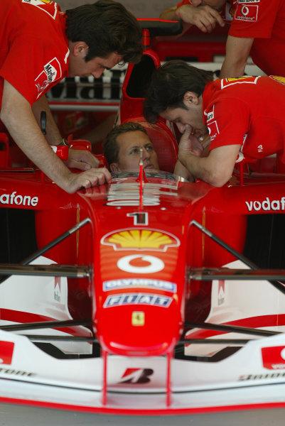 2003 San Marino Grand Prix - Friday 1st QualifyingImola, Italy. 18th April 2003Michael Schumacher, Ferrari F2002.World Copyright: Steve Etherington/LAT Photographic ref: Digital Image Only