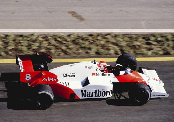 1984 Formula One Testing.Estoril, Portugal.1984.Niki Lauda (McLaren MP4/2 TAG Porsche)Ref-84 EST 01.World Copyright - LAT Photographic