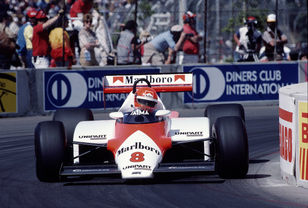 1983 United States Grand Prix West.Long Beach, California, USA.25-27 March 1983.Niki Lauda (McLaren MP4/1C Ford) 2nd position.Ref-83 LB 41.World Copyright - LAT Photographic