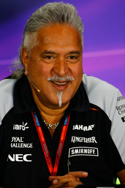 Silverstone, Northamptonshire, UK Friday 08 July 2016. Vijay Mallya, Team Principal and Managing Director, Force India, in the Team Principals Press Conference. World Copyright: Andy Hone/LAT Photographic ref: Digital Image _ONY8094