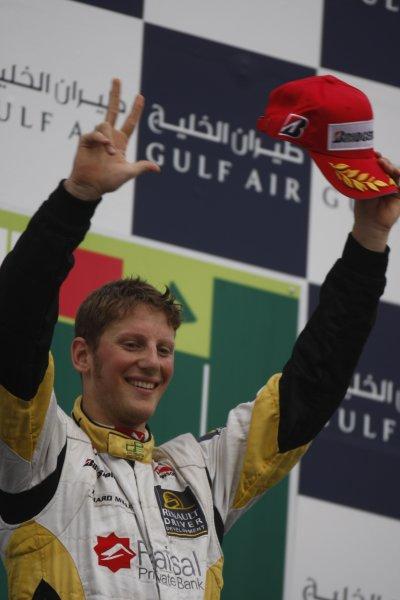 2008 GP2 Asia Series. Saturday Race.Bahrain International Circuit. Sakhir, Bahrain. 5th April. Romain Grosjean (FRA, ART Grand Prix) celebrates victory. World Copyright: Glenn Dunbar/GP2 Series Media Service. Service ref:__O9T0373 jpg