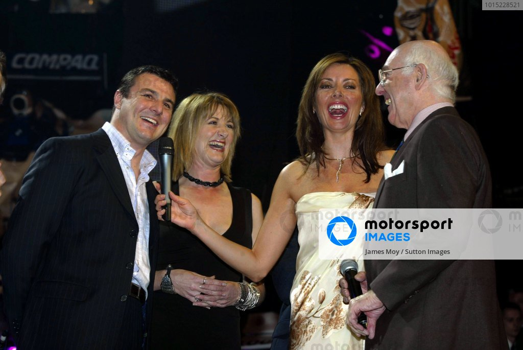 L to R, Mark Blundell (GBR), Louise Goodman (GBR), Carol Vorderman (GBR) and Murray Walker.