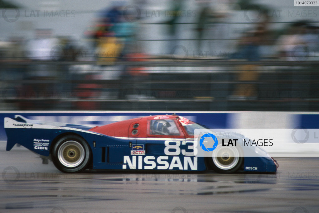 Sebring 12 Hours, Florida, USA. 16th March 1991. Rd 3. Geoff Brabham / Derek Daly / Gary Brabham (Nissan NPT-90), 1st position, action.  World Copyright: Bill Murenbeeld/LAT Photographic. Ref:  91IMSA SEB 08.