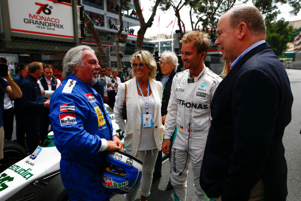 Keke Rosberg is reunited with his 1982 Williams FW08 Cosworth in a demonstration run with son Nico Rosberg, who took the wheel of his 2016 Mercedes W07 Hybrid. Prince Albert speaks to the pair on the grid.