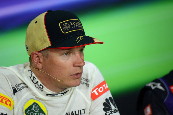 Kimi Raikkonen (FIN) Lotus F1, who finished second, in the post-race Press Conference. Formula One World Championship, Rd9, German Grand Prix, Race Day, Nurburgring, Germany, Sunday 7 July 2013.