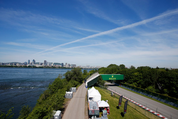 Circuit Gilles Villeneuve, Montreal, Canada. Thursday 4 June 2015. The Montreal skyline with the track in the foreground. World Copyright: Steven Tee/LAT Photographic. ref: Digital Image _X0W3886