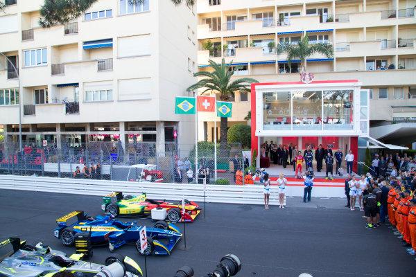 2014/2015 FIA Formula E Championship. Sebastien Buemi (SWI)/E.dams Renault - Spark-Renault SRT_01E Lucas di Grassi (BRA)/Audi Abt Sport - Spark-Renault SRT_01E Nelson Piquet Jr (BRA)/China Racing - Spark-Renault SRT_01E  Monaco ePrix Race. Monaco ePrix, Monte Carlo, Monaco, Europe. Saturday 9 May 2015  Photo: Adam Warner/LAT/Formula E ref: Digital Image _L5R1459