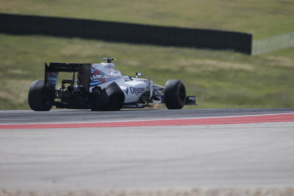 Valtteri Bottas (FIN) Williams FW38 with rear tyre and puncture damage at the start of the race at Formula One World Championship, Rd18, United States Grand Prix, Race, Circuit of the Americas, Austin, Texas, USA, Sunday 23 October 2016.