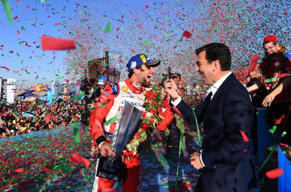 Jérôme d'Ambrosio (BEL), Mahindra Racing, 1st position, celebrates on the podium