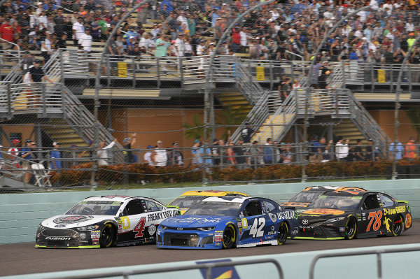 #4: Kevin Harvick, Stewart-Haas Racing, Ford Fusion Jimmy John's, #42: Kyle Larson, Chip Ganassi Racing, Chevrolet Camaro Credit One Bank/DC Solar, and #78: Martin Truex Jr., Furniture Row Racing, Toyota Camry Bass Pro Shops/5-hour ENERGY