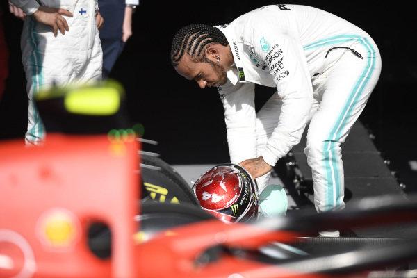 Lewis Hamilton, Mercedes AMG F1, 2nd position, in Parc Ferme