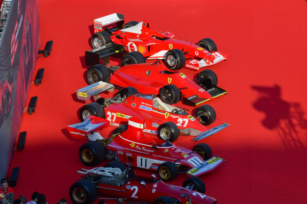 Historical Ferrari's lined up on stage. F2002, F1-85, 162C2, 312T3 and 312.
