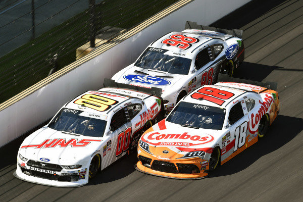 #00: Cole Custer, Stewart-Haas Racing, Ford Mustang Haas Automation, #18: Kyle Busch, Joe Gibbs Racing, Toyota Supra Combos and #98: Chase Briscoe, Stewart-Haas Racing, Ford Mustang Ford Performance