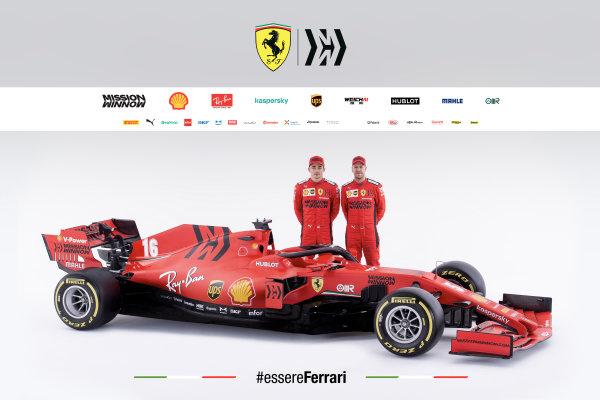 The Ferrari SF1000 is launched. Charles Leclerc, Ferrari, and Sebastian Vettel, Ferrari, pose behind the car