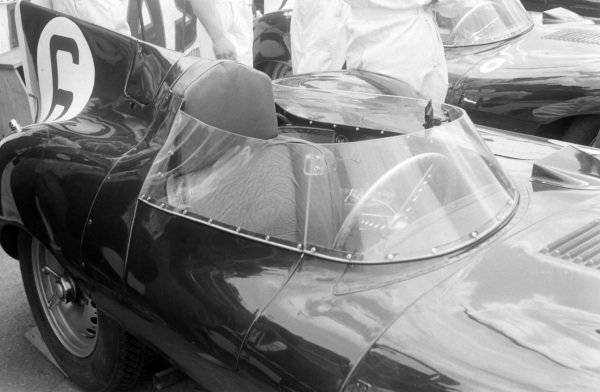 Windscreen detail on Mike Hawthorn / Ivor Bueb's Jaguar Cars, Jaguar D-type.