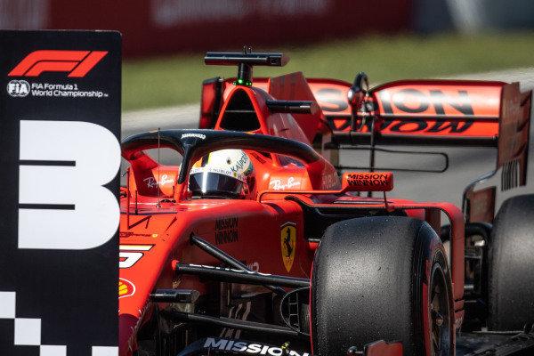 Sebastian Vettel, Ferrari SF90, parks up after Qualifying