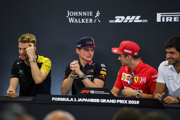 Nico Hulkenberg, Renault F1 Team, Max Verstappen, Red Bull Racing, Charles Leclerc, Ferrari and Carlos Sainz Jr, McLaren in the Press Conference