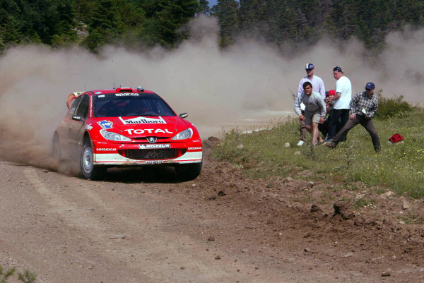 Harri Rovanpera,Peugeot 206 WRC, Acropolis Rally 2003.