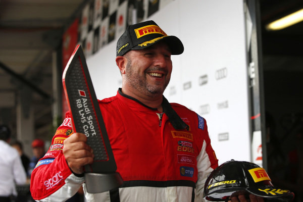Tony Bates (AUS) Tony Bates Racing on the podium after Race 2 at Audi R8 LMS Cup, Rd1 and Rd2, Adelaide, Australia, 2-4 March 2018.