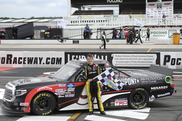 #51: Brandon Jones, Kyle Busch Motorsports, Toyota Tundra DuPont Air Filtration/Menards, celebrates after winning in Pocono.