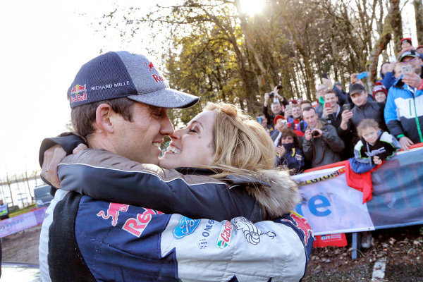 Sebastien Ogier (FRA), M-Sport World Rally Team WRC celebrates his Championship win at World Rally Championship, Rd12, Wales Rally GB, Day Three, Deeside, Wales, 29 October 2017.
