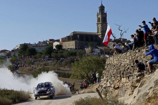 Sebastien Ogier (FRA) / Julien Ingrassia (FRA), M-Sport World Rally Team Ford Fiesta WRC at World Rally Championship, Rd11, RAAC Rally de Espana, Day One, Costa Daurada, Catalunya, Spain, 6 October 2017.