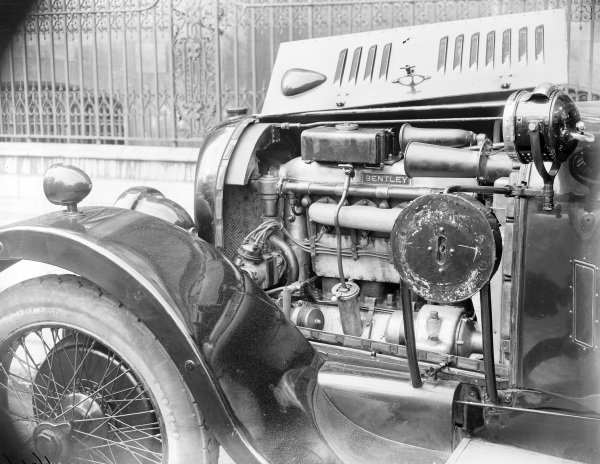 Bentley with spare wheel removed to show engine.