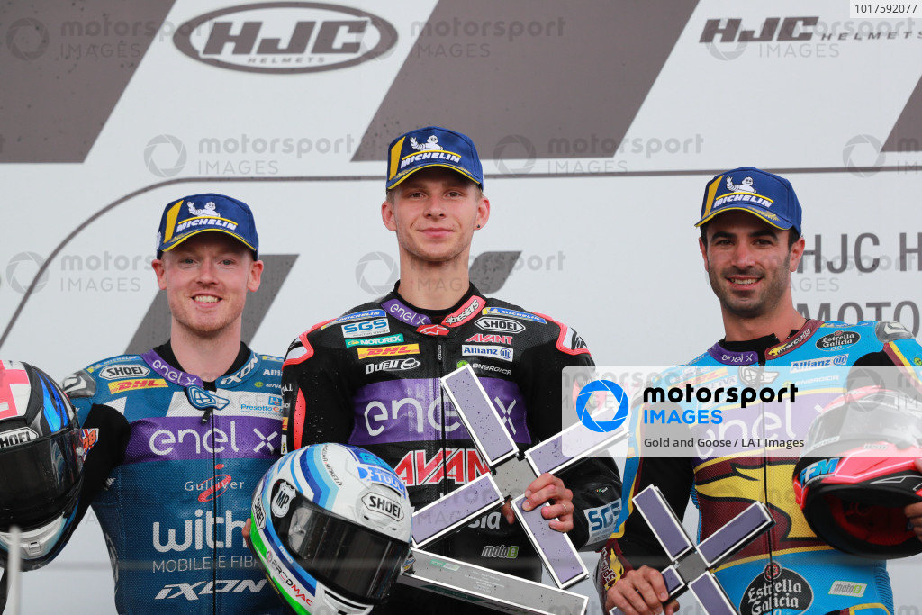 Podium: race winner Niki Tuuli, Ajo Motorsport, second place Bradley Smith, SIC Racing Team, third place Mike di Meglio, Marc VDS Racing.