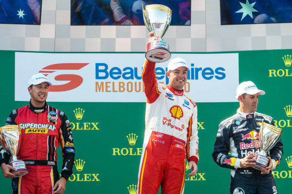 Scott McLaughlin, DJR Team Penske, Ford, celebrates on the podium above Anton de Pasquale, Erebus Motorsport, Holden, and Jamie Whincup, Triple Eight Racing Engineering, Holden