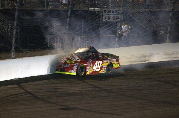 2002 NASCAR,Richmond Intl. Raceway,Sept 06-07, 20022002 NASCAR, Richmond,Va . USA -Derrike Cope comes scraping to a halt after slamming the wall,Copyright-Robt LeSieur2002LAT Photographic