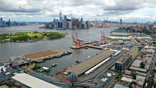 aerial view of Brooklyn street circuit NY