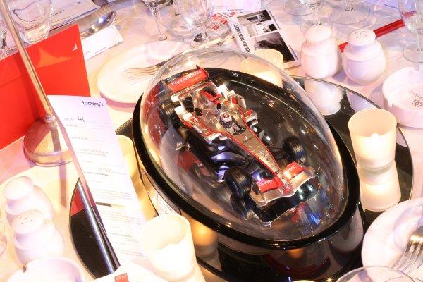 2006 Autosport Awards Grosvenor House Hotel, London. 3rd December 2006. Kimi Raikkonen, McLaren MP4-21 Mercedes Table Centre. Detail. World Copyright: Peter Spinney/LAT Photographic ref: Digital Image RK4O2544