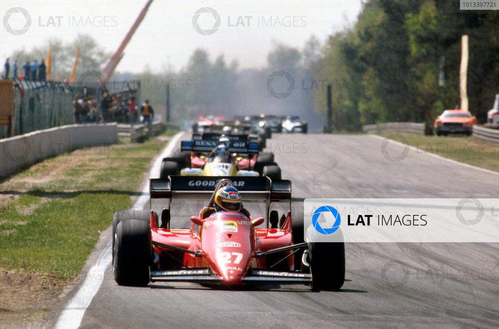 Zolder, Belgium.27-29 April 1984.Michele Alboreto (Ferrari 126C4) 1st position.Ref-84 BEL 01.World Copyright - LAT Photographic
