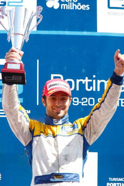 Sunday Race.Luca Filippi (ITA, Super Nova Racing) celebrates his victory on the podium. World Copyright: Glenn Dunbar / GP2 Series Media Service.Ref: _3GD3258 jpg