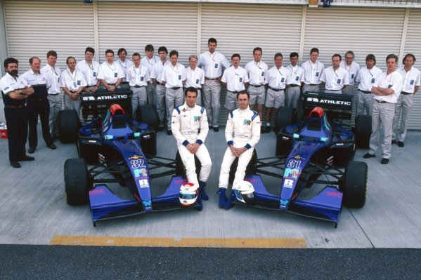 A team photo for the fledgling Simtek team, with drivers Roland Ratzenberger (AUT) (Left) and David Brabham (AUS) (Right) in the foreground with the two Simtek S941Ã•s.