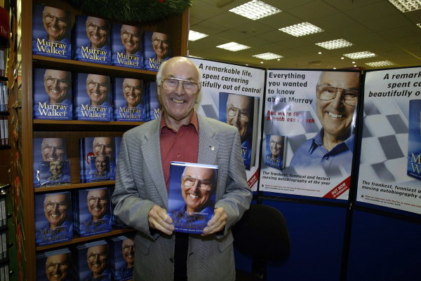 TV commentating legend Murray Walker (GBR) stages another leg of his mammoth nationwide booksigning tour of his Autobiography entitled 'Unless I Am Very Much Mistaken.'