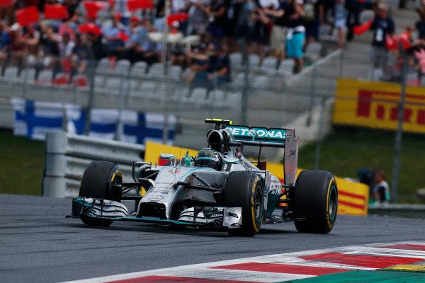 Red Bull Ring, Spielberg, Austria. Sunday 22 June 2014. Nico Rosberg, Mercedes F1 W05 Hybrid, celebrates his win. World Copyright: Sam Bloxham/LAT Photographic. ref: Digital Image _SBL0335