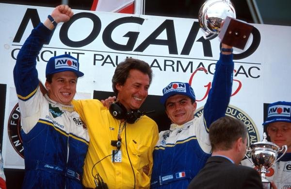 The podium (L to R): Olivier Panis (FRA) DAMS who was punted off the track into retirement but still claimed the championship by one point; DAMS owner Jean Paul Driot; race winner Frank Lagorce (FRA) DAMS; Emmanuel Collard (FRA) third. 