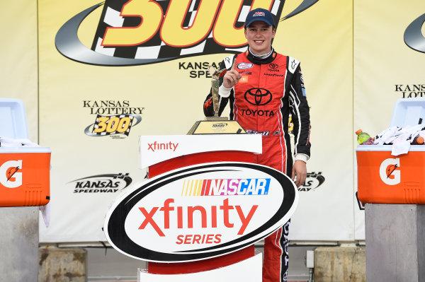 NASCAR XFINITY Series Kansas Lottery 300 Kansas Speedway, Kansas City, KS USA Saturday 21 October 2017 Christopher Bell, JBL Toyota Camry, Celebrates in Victory Lane. World Copyright: John K Harrelson LAT Images