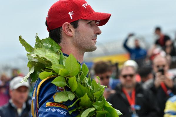 Verizon IndyCar Series IndyCar Grand Prix at the Glen Watkins Glen International, Watkins Glen, NY USA Sunday 3 September 2017 Alexander Rossi, Curb Andretti Herta Autosport with Curb-Agajanian Honda celebrates the win in victory lane. World Copyright: Scott R LePage LAT Images ref: Digital Image lepage-170903-wg-7954