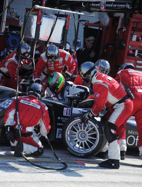 14-19 March 2011. Sebring, Florida USA#055 Level 5 Motorsports Lola Honda during pitstop©2011 Dan R. Boyd LAT Photo USA