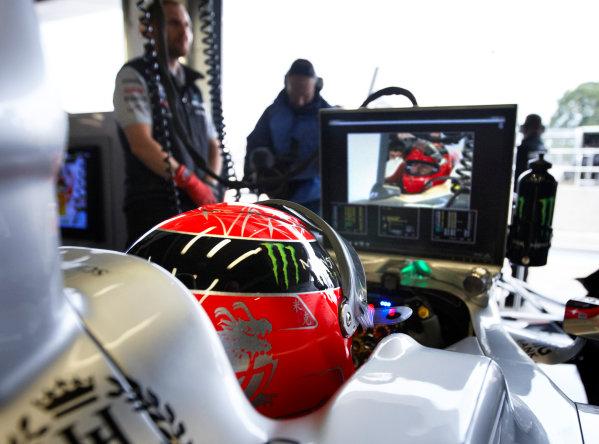 Silverstone, Northamptonshire, England 9th July 2011 Michael Schumacher, Mercedes GP W02. Portrait. Helmets.  World Copyright: Steve Etherington/LAT Photographic ref: Digital Image SNE21397
