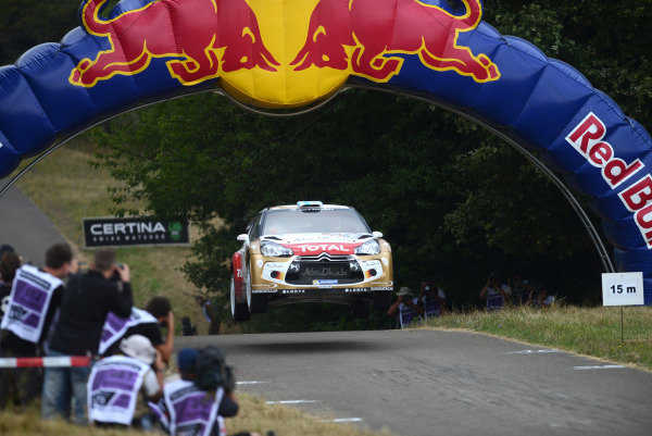 Mikko Hirvonen (FIN) and Jarmo Lehtinen (FIN), Citroen DS3 WRC on stage 11.FIA World Rally Championship, Rd9, ADAC Rally Germany, Day Three, Trier, Germany, 24 August 2013.