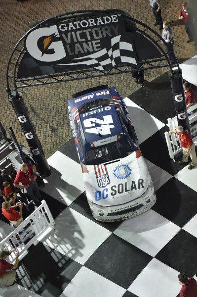 #42: Kyle Larson, Chip Ganassi Racing, Chevrolet Camaro DC Solar wins the Xfinity race in Daytona.