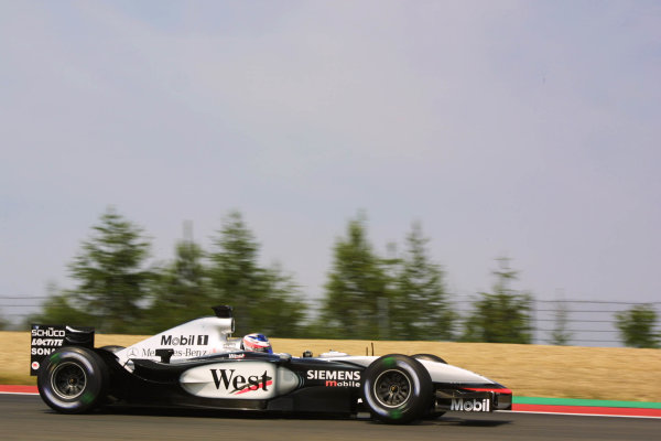 2003 European Grand Prix - Friday 1st Qualifying,Nurburgring, Germany.27thth June 2003.Kimi Raikkonen, Team McLaren Mercedes MP4/17D, actionWorld Copyright LAT Photographic.Digital Image Only.