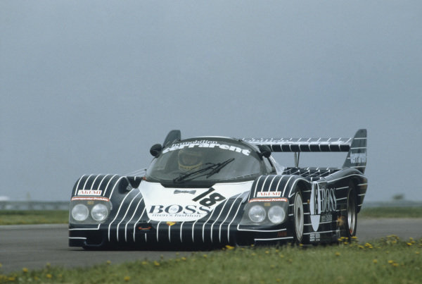 Silverstone, England. 8th May 1983. Rd 2.Axel Plankenhorn/Jurgen Lassig/Harald Grohs (Porsche 956), 4th position, action. World Copyright: LAT Photographic.Ref:  83SIL06