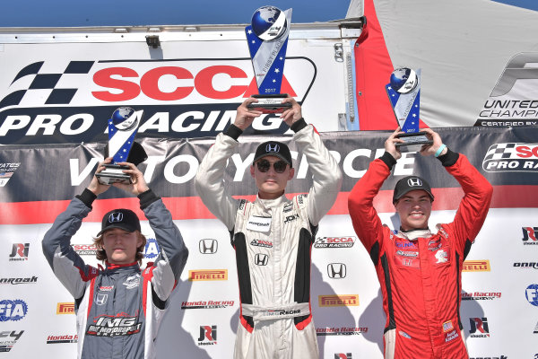 2017 F4 US Championship Rounds 1-2-3 Homestead-Miami Speedway, Homestead, FL USA Sunday 9 April 2017 Race #3 winner, Timo Reger with second place Austin Kaszuba and third place with Raphael Forcier World Copyright: Dan R. Boyd/LAT Images