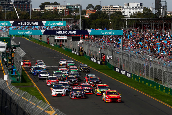 Australian Supercars Series Albert Park, Melbourne, Australia. Sunday 26 March 2017. Race 4. Fabian Coulthard, No.12 Ford Falcon FG-X, Shell V-Power Racing Team, and Jamie Whincup, No.88 Holden Commodore VF, Red Bull Holden Racing Team, lead the field away at the start. World Copyright: Zak Mauger/LAT Images ref: Digital Image _56I0155